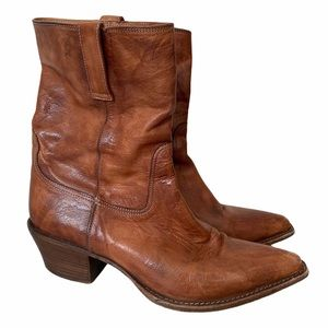 Cole Haan Brown Leather Short Cowboy Boots